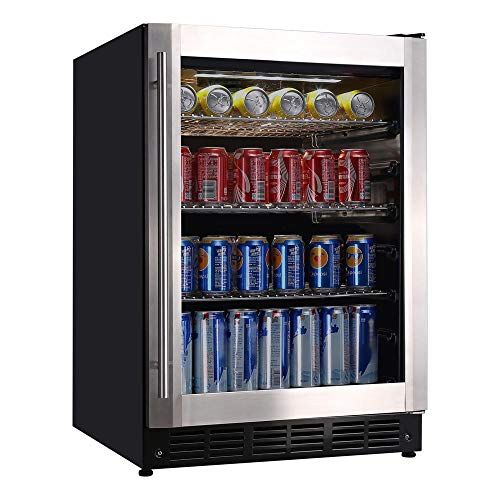 Magic Chef 23.4 in. 154 (12 oz.) Can Beverage Cooler, Stainless Steel-HMBC58ST