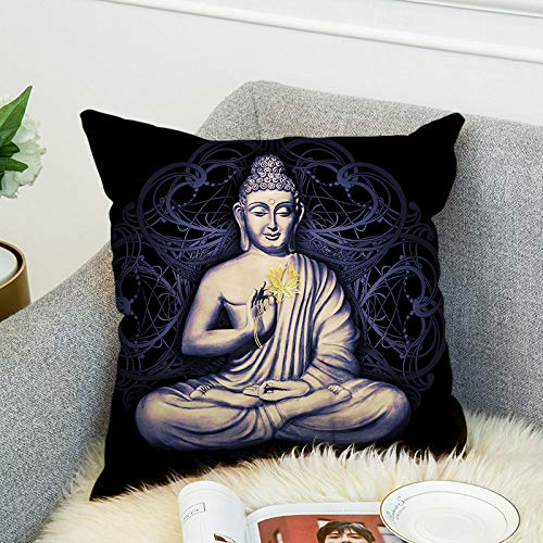 Dollin&Dockin Square Pillowcase Buddha Double-Sided Printing Home Pillow Cute Decoration Suitable for Sofa Bedroom Living Room Car Protective Shell Color,10