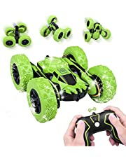 RC Stunt Car with Double Sided Flips Control Tracks - Green