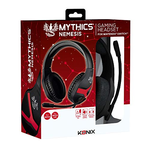 Konix Mythics Nemesis - Auriculares de Diadema con Interruptor de micrófono Compatible con PS4, Xbox One, PC/Smartphone