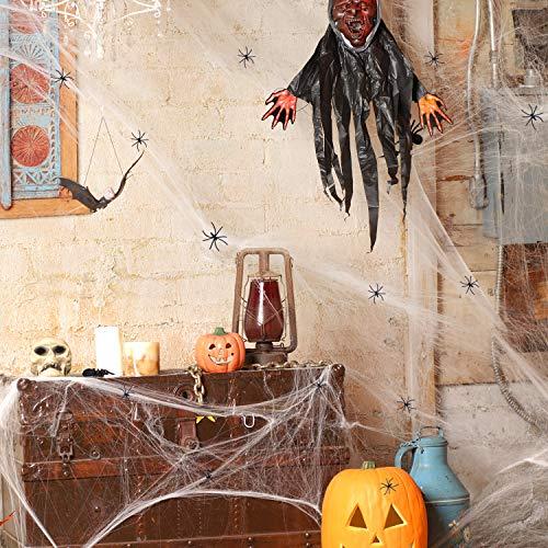 Joyjoz Halloween Decorazioni Ragnatela 1000 Piedi Quadrati con 12 Ragni per Halloween Decorazioni Casa