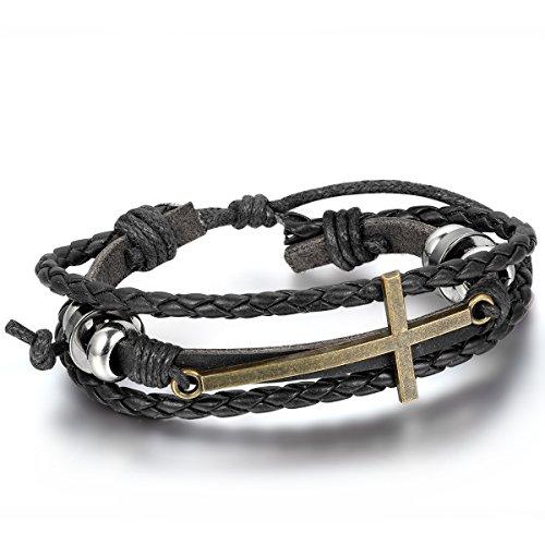 JewelryWe Schmuck Fashion Kreuz Beads Ringe Legierung Leder Armband, Geflochten Herren Damen Lederarmband Armreif, 19,5cm-25,5cm Verstellbare Größe, Schwarz Silber Bronze, mit Geschenk Tüte