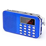 PRUNUS L-218AM Mini Portable Ultrathin AM/FM/USB/TF MP3 Radio with Emergency flashlight function. Rechargeable and Replaceable battery. Long antenna. Stores stations automatically. (Blue)
