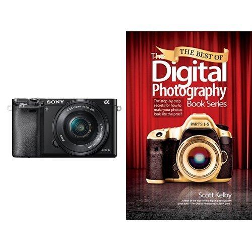 Sony A6000 con objetivo 16-50mm y libro de fotografía digital (inglés)