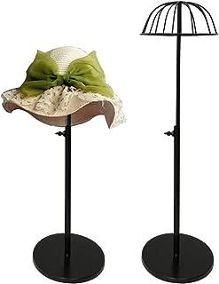 Queens Adjustable Height Hat Stand Metal Dome Shape Design Tabletop Wig Display Rack (Black)