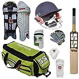 Kit de críquet SS Matrix con bate de tamaño completo (campana de críquet EW, almohadillas, guantes, casco, bolsa, codera, protector de muslo) kit de críquet utilizado por muchos jugadores internacionales