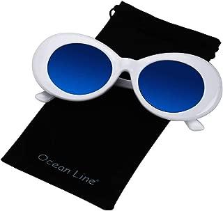 Bold Retro Oval Mod Thick Frame Sunglasses Round Lens Kurt Cobain Clout Goggles