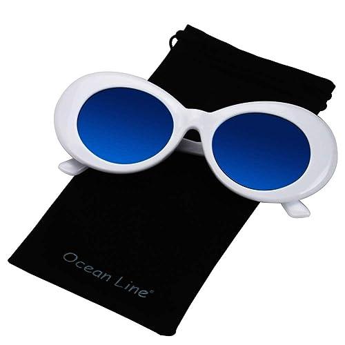 51d8990376 Bold Retro Oval Mod Thick Frame Sunglasses Round Lens Kurt Cobain Clout  Goggles