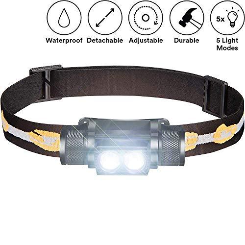 ALFLASH Lampade da Testa Rcaricabile CREE LED Impermeabile Super Luminoso USB Faro Torcia Frontale Leggera 5 modalità Faro per Ciclismo Corsa Campeggio Escursionismo Pesca (Double)