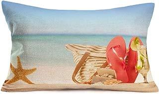 Smilyard Happy Holiday Throw Pillow Case Cotton Linen Summer Beach Sand Quote Words Cotton Linen Pillowcase Cushion Cover for Sofa Home DecorativeRectangular 12x20 Inches (OKM 13)