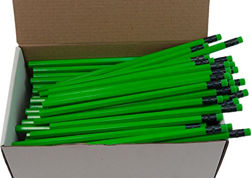 Hex Pencils (Full Size Hex Pencil with #2 Lead Available in a Variety of Colors) (Tested Non Toxic) (Latex Free Eraser) (Classroom Pencils) (Bulk Box of 144) (Neon Green)