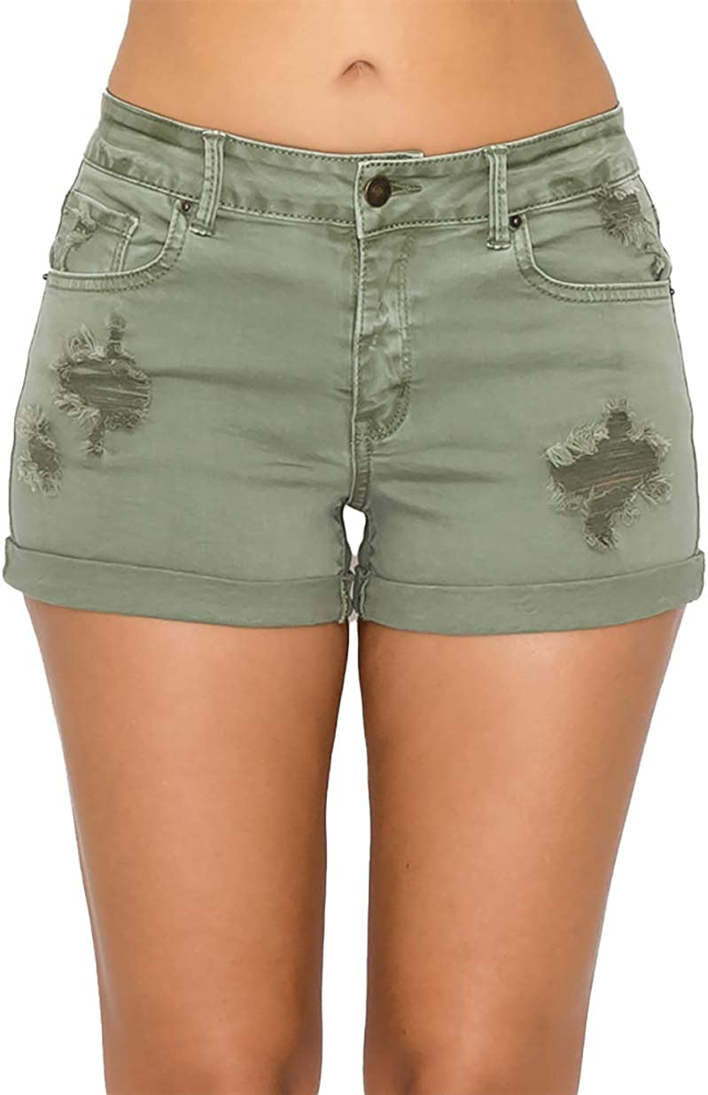 Wax Jean Collection High-Waisted Destroyed Garment-Dyed Color Denim Shorts