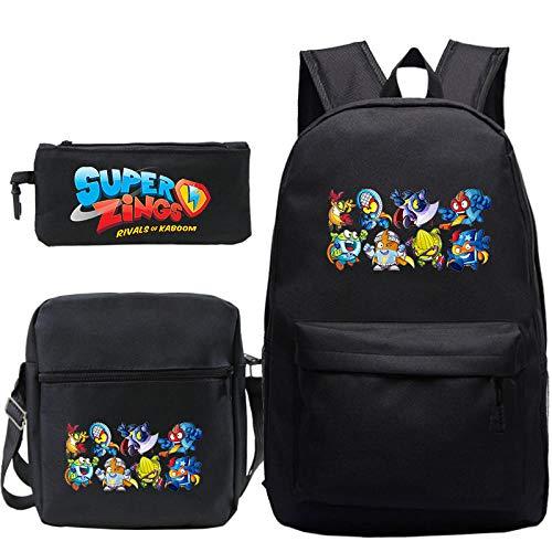 3pcs Set Backpack Cartoon Student School Bag Bookbag Travel Bag (Rucksack Shoulder Bag Pen Bag) 6 3Pcs Set