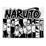 Ovenbird Naruto Tapestry Black and White, Anime Tapestry Japanese Manga, Naruto Birthday Party Supplies Decorations, Uchiha Sasuke & Uzumaki Naruto Poster Flag Merch Room Decor Wall Art Anime Accessories, 51' X 59'