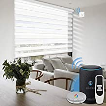 Graywind Motorized Zebra Blinds Compatible with Alexa Google WiFi Hardwired Smart Horizontal Window Blind Remote Control Light Filtering Electric Window Shades, Customized Size (Pure White)