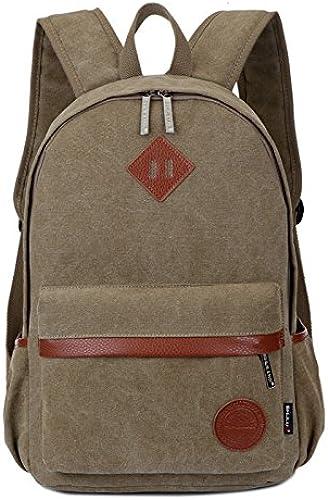 M ermode doppel Schultertasche Trend einfach Sportlicher Rucksack Studenten Taschen, deep khaki Tuch Farbe