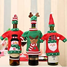 AstiVita Christmas Decor Wine Bottle Cover Set 6 Pack - Christmas Sweater for Your Wine - Bonus Cute Wine Christmas Hat