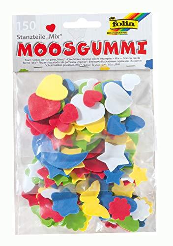 folia 231509 - Moosgummi Stanzteile, 150 Teile sortiert, mit Herzen, Sternen und Mond, Schmetterlingen und Blumen