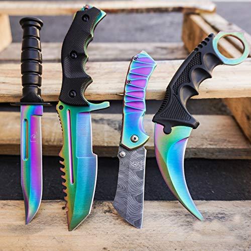 KCCEDGE 4PC Combo CSGO Tactical Fixed Blade Knife Set - Karambit, Huntsman, Combat Knife, Cleaver Pocket Knife (Rainbow Combo)