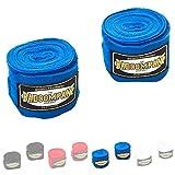 Bad Company Box-Bandagen I Elastische Handgelenksbandagen mit breitem Klettverschluss, Daumenschlaufe und Einer Wickelanleitung für das Boxtraining I Blau 2,5 m