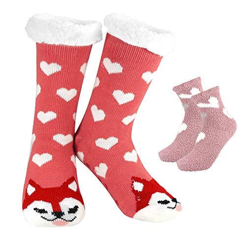 APERIL 2 Paar Kuschelsocken Lange Anti Rutsch Socken Damen Warme Socken Cute Cartoon Flauschsocken Wintersocken Witzige Hausschuhe Thermosocken Dicke Socken Weihnachten für Mädchen Geschenke