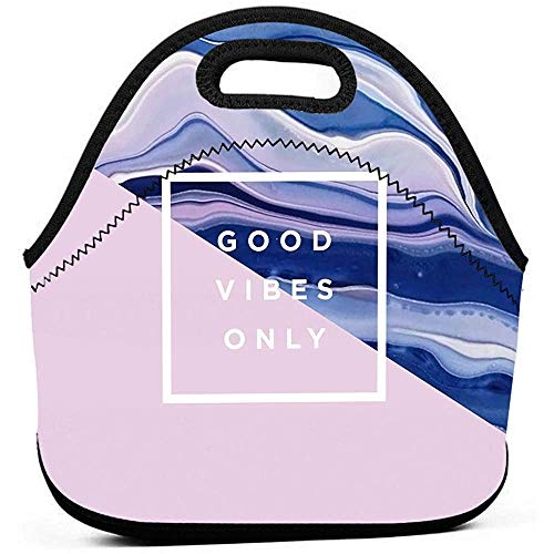 Borsa Pranzo,Good Tibes Background Art Tote Bag, Borse Personalizzate Personalizzate Per Arrampicata Di Viaggio Per Adulti,28x29x14cm