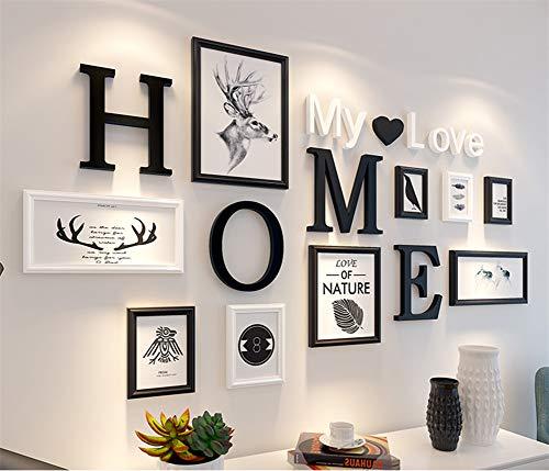 HAOLY Massivholz Fotowand,kreativ Fotorahmen Wand Collage Bilderrahmen Fotorahmen Collage Für Wohnzimmer Restaurant Hintergrundwand-i