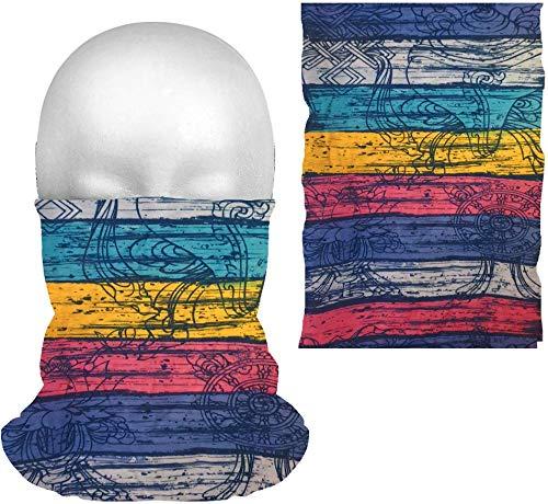 dreamhouse Multifunktionstuch Schlauchschal Bandana Maske mit Motiv   Halstuch Gesichtsmaske   Sturmmaske, Mehrzweckschal   Damen & Herren Varianten (Streifen (blau/türkis/rosa))