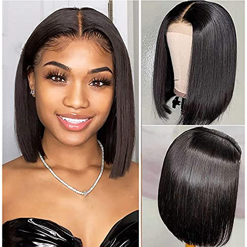 Bob Wigs for Black Women Human Hair Pre Plucked 4×4 Short Lace Front Wigs Human Hair 150% Density Straight Bob Lace Closure Wigs for Women Natural Black Color (8 Inch)