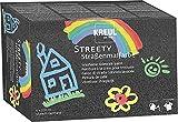 Kreul 43110 - Streety Straßenmalfarbe Set, 6 Farben mit je 200 ml, abwaschbare Flüssigkreide zum Malen mit Pinsel oder Roller, flüssige Straßenmalkreide, vegan, dermatologisch getestet, auswaschbar