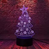 NEW 3D Led Xmas Tree Star Bell Christmas Ball 7 Cambio de color Luces nocturnas Home Roon Decoración Niño Niños Bebé Familia Amigo RegaloWXHYW