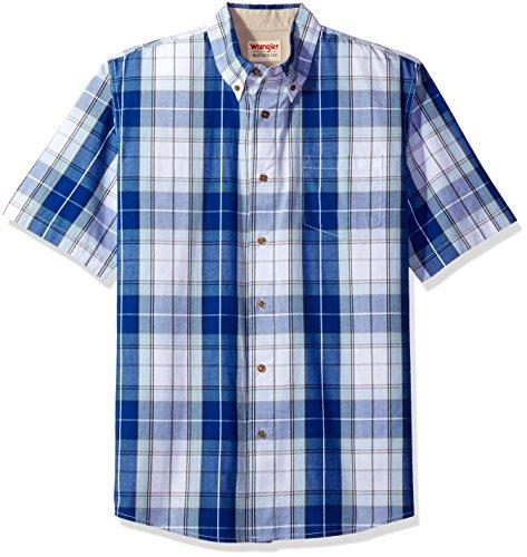 Wrangler Authentics Men's Short Sleeve Plaid Woven Shirt, Bright White, XL