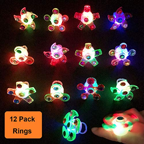 Kocici 12 Packs Fidget Light Up Ring Toys Random Color Set LED Party Favors for Kids Prizes Glow in The Dark Party Supplies Hand Spinner Stress Relief Anxiety Toys for Classroom and Party Fun Gifts