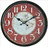 Perla PD Design - Reloj de pared de metal lacado con esfera de cristal y diseño vintage Diámetro de 30cm., metal, Mapamundi 2