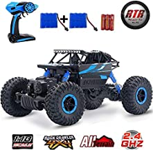 SZJJX RC Cars Off-Road Remote Control Car Trucks Vehicle 2.4Ghz 4WD Powerful 1: 18 Racing Climbing Cars Radio Electric Rock Crawler Buggy Hobby Toy for Kids Gift-Blue