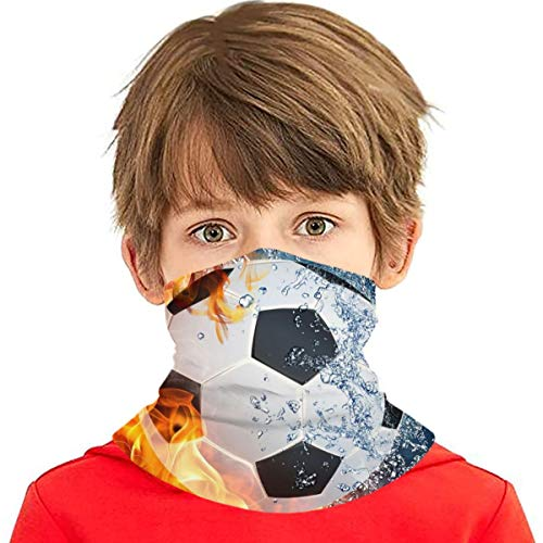 Kids Youth Face Scarf Mask Fire Water Soccer Bandanas Neck Gaiter Mouth Cloth Cover Boys Girls Anti Dust Headband
