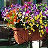 XYJIE - 8 fiori artificiali per esterni, resistenti ai raggi UV, piante da giardino per casa colonica, casa, ufficio, giardino, decorazione (giallo, viola, bianco, arancione, rosso, 8 pezzi