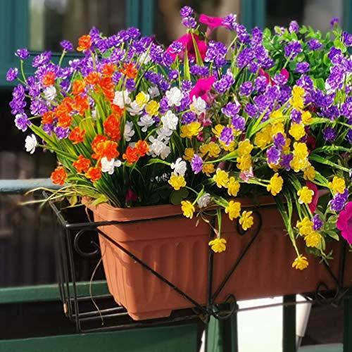 8pcs Flores artificiales Arbustos al aire libre Resistentes a los rayos UV Plantas para casa de campo Interior exterior Colgante Jardinera Boda Jardín (Amarillo, Púrpura, Blanco, Naranja Rojo