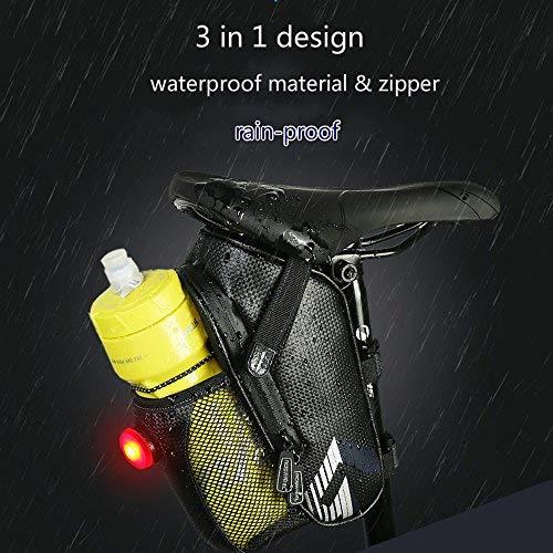 FUCNEN Bolsa para sillín de bicicleta impermeable con compartimento botella