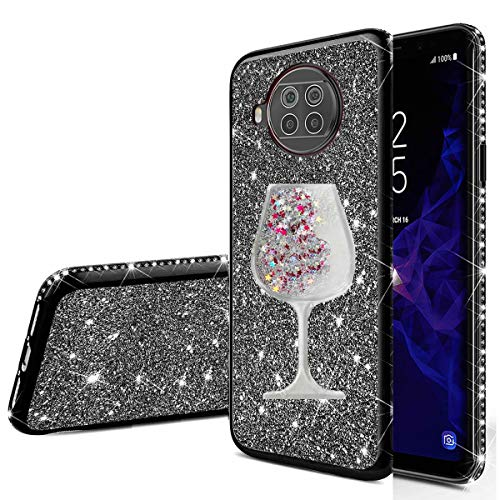 Nadoli für Xiaomi Mi 10T Lite Glitzer Hülle,Kristall Diamant Strass Bumper mit 3D Fließend Flüssig Treibsand Weinglas Silikon Handyhülle Frauen für Xiaomi Mi 10T Lite