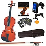 Mendini By Cecilio Violin For Kids & Adults -4/4MVNatural Varnish FinishViolins, Student or Beginners Kit w/Case, Bow, Extra Strings, Tuner, Lesson Book - Stringed Musical Instruments