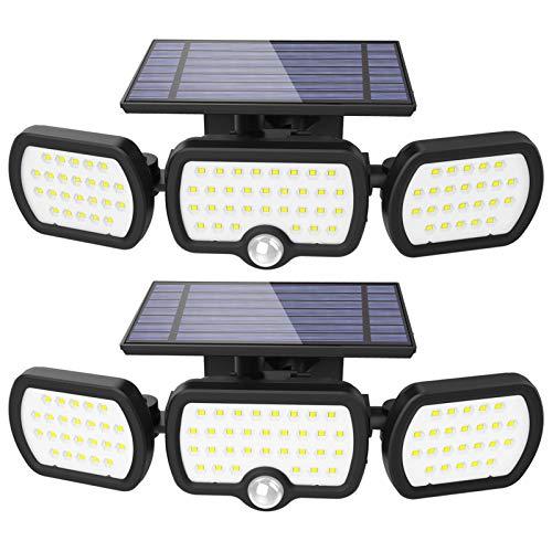 Luz Solar Exterior, JESLED 3 modos de iluminación Luz solar de seguridad (2 Packs), Con iluminación gran angular de 360°, Clasificación de impermeabilidad IP65, Apto para garaje, jardín