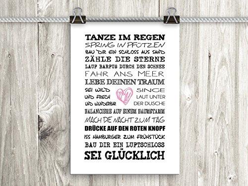 artissimo, Poster mit Spruch, Din A4, PE0041-DR, Tanze im Regen, Bild mit Spruch, Spruchbild, Wandbild, Plakat, Kunstdruck, Zitat, Sprüche, Wanddekoration, Typographie, Typografie