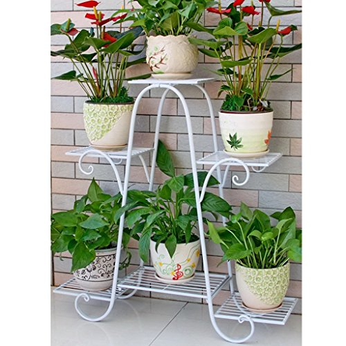Six couches de supports à fleurs fer à plusieurs étages porte-fleurs vert radix laqué balcon fleur étage étagère salon intérieur plancher fleur pot rack (Couleur : Blanc)