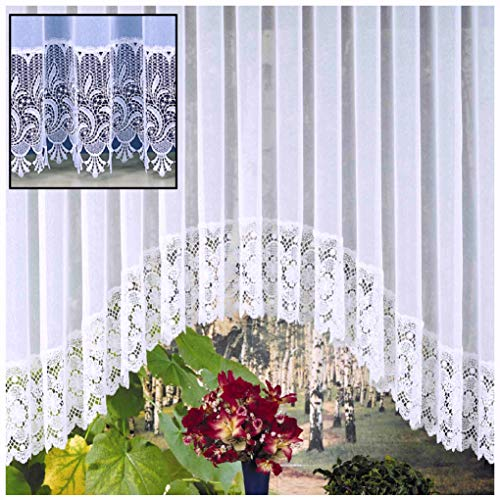 heimtexland Typ516 Store Rideau en coton mélangé avec base en macramé véritable Blanc, Polyester, Weiß, HxB 145x900 cm für Fensterbreite 310-370 cm