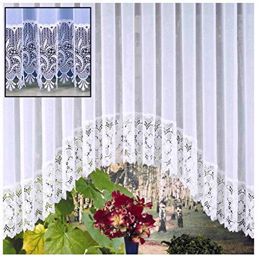 Heimtexland C-vel Store gordijn van fijn website-sjablé met echte macramé sokkel in zuiver wit - Ökotex Macramé gordijn Typ516 HxB 145x300 cm für Fensterbreite 100-130 cm wit