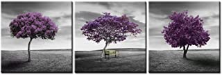 Canvas Print Wall Art Picture for Home Decor Landscape Meadow Purple Tree Green Field Lawn in Black and White Style 3 Pieces Paintings Framed Artwork 16