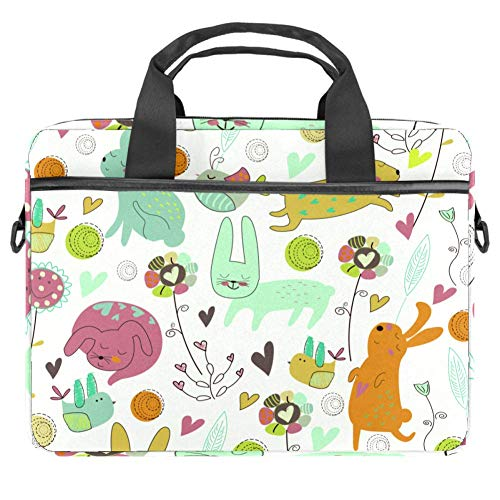 TIZORAX Laptop Bag Bunnies and Birds Notebook Sleeve with Handle 15-15.4 inches Carrying Shoulder Bag Briefcase