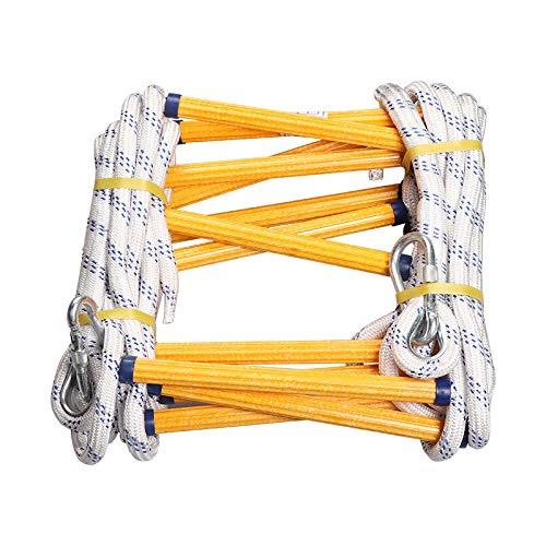 QHGao brandwerende ladder met haken, draagbaar en herbruikbaar, compact en eenvoudig op te bergen, ladder van nylon voor noodgevallen, zachte ladder met isolatie