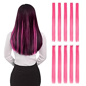 """Colored Clip in Hair Extensions 20"""" 10pcs Straight Fashion Hairpieces for Party Highlights Pink"""